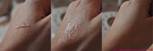 N.B.: nella foto più a destra si vede come si assorbe completamente e lascia la pelle matte
